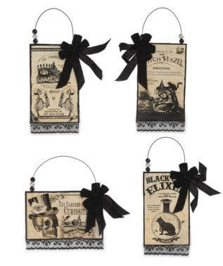 Bethany Lowe Halloween Apothecary Postcard Ornament Set
