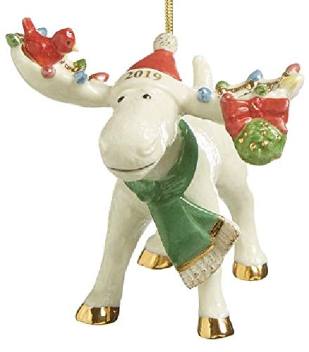 Lenox 2019 Under The Mistletoe with Marcel The Merry Moose with Bird Ornament New in Box