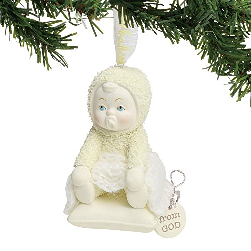 "Department 56 Snowbabies ""From God"" Porcelain Hanging Ornament, 3″"
