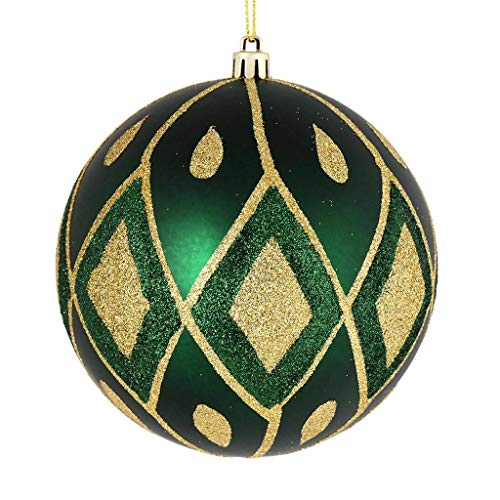 Vickerman 528877-4″ Midnight Green Matte Glitter Diamond Ball Christmas Tree Ornament (4 pack) (N188074D)