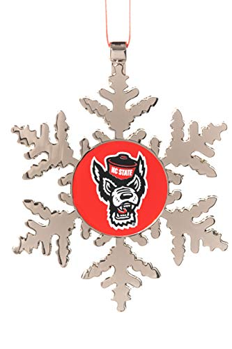 Collegiate Pulse North Carolina State (NC State) UNIV Wolfpack Wolf Head NCAA Snowflake Christmas Ornament