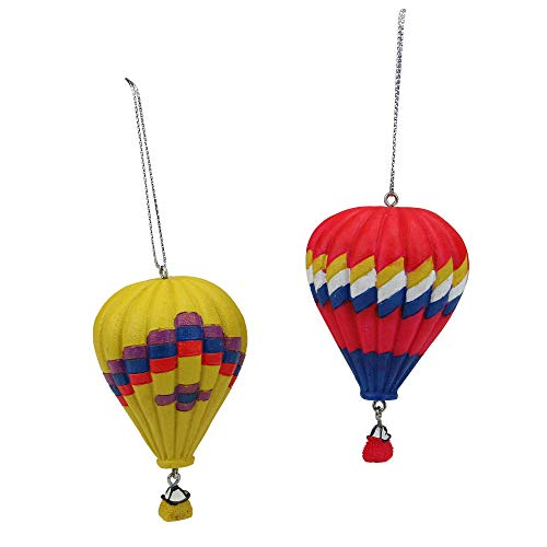 Midwest Gloves Set of 2 Red and Yellow Hot Air Balloon Christmas Ornaments 3.25″