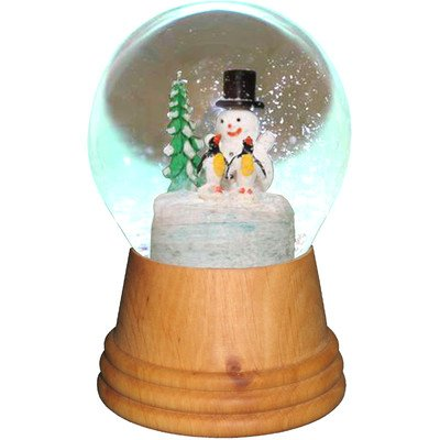Alexander Taron 2423 Perzy Snowglobe, Medium Snowman with Penguin with Wooden Base-5″ H W x 3.5″ D, Brown