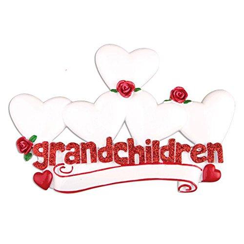 Polar X Grandchildren with 5 Hearts Personalized Christmas Ornament