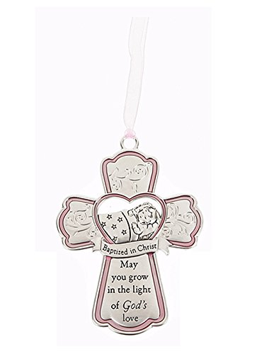 Ganz Baptized in Christ Hanging Cross Crib Ornament (Pink Ribbon)