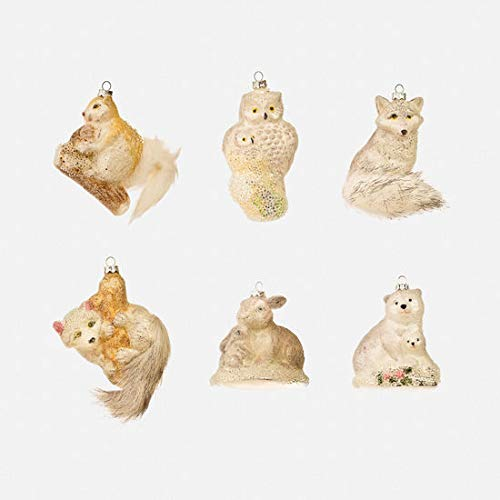 One Hundred 80 Degrees ICY Animal Ornament, 6 Asst, Glass