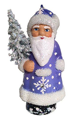 Alexander Taron 16-13 Schaller Paper Mache Ornament – Blue Santa – 3.25″ H x 1.75″ W x 1.5″ D Gray
