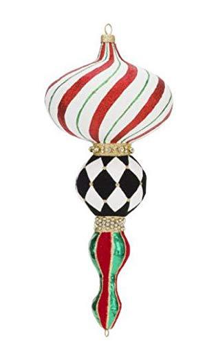 Mark Robers 13″ Elegant Kismet Ornament: Candy Cane Stripe Christmas Tree Ornament