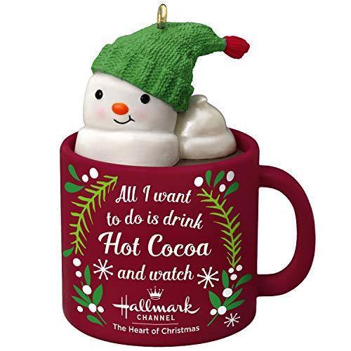 Hallmark Keepsake Christmas Ornament 2019 Year Dated I I Love Hallmark Channel Snowman in Mug, Challen