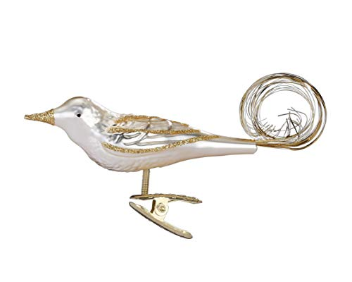 Inge-Glas Clip-On Bird Golden Bush Robin Champagne Matte 10098S019 German Glass