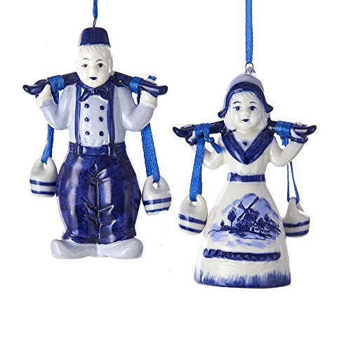 Kurt Adler 4″ Porcln Delft Blue Boy/Girl Ornaments