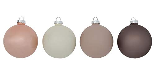 Creative Co-Op 3 Inch Round Glass Ball Ornaments, Pink, Boxed Set of 4