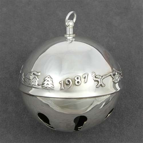 1987 Sleigh Bell Silverplate Ornament by Wallace
