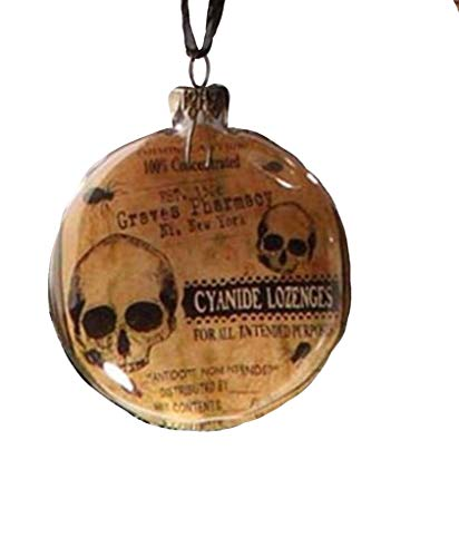 Bethany Lowe Halloween Glass Disc Ornament – Cyanide Lozenges