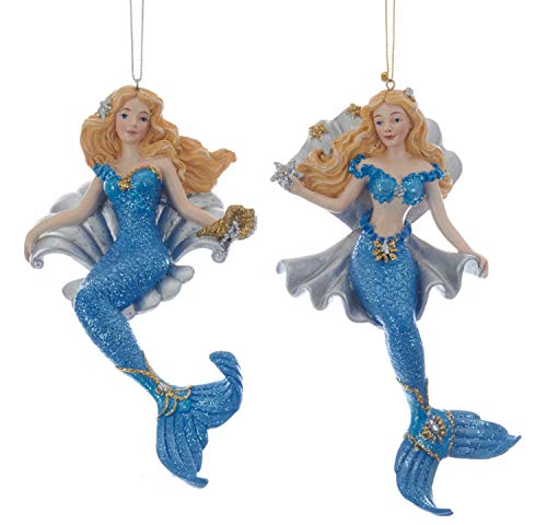 Kurt Adler Blue and Silver Blonde Mermaids with Shells Ornaments Set of 2