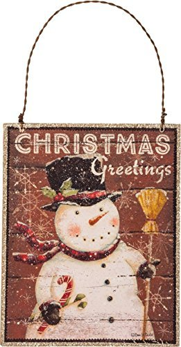 Primitives by Kathy Christmas Greetings 4 inches x 5 inches Glitter Paper Wire Decorative Hanging Ornaments
