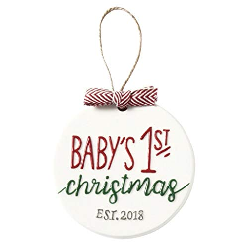 Mud Pie Baby's First 2018 Ceramic Hanging Ornament