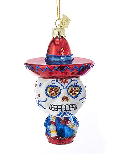 K. Adler Red & Blue Sugar Skull 5 Inch Glass Hanging Dia De Los Muertos Ornament