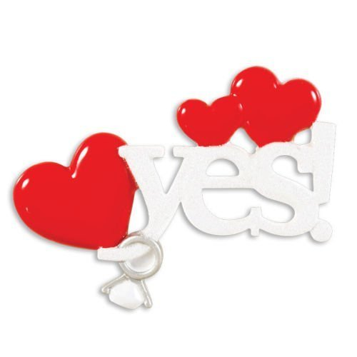 Yes! Engagement Personalized Christmas Tree Ornament by Polar X