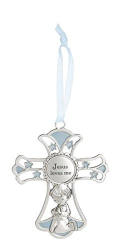 "Ganz 4"" Ornate Baby Crib Cross Decor with Ribbon for Hanging (Jesus Loves Me – Blue)"