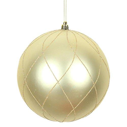 Vickerman 471296-4 Champagne Matte and Glitter Swirl Ball Christmas Tree Ornament (4 pack) (N170638D)
