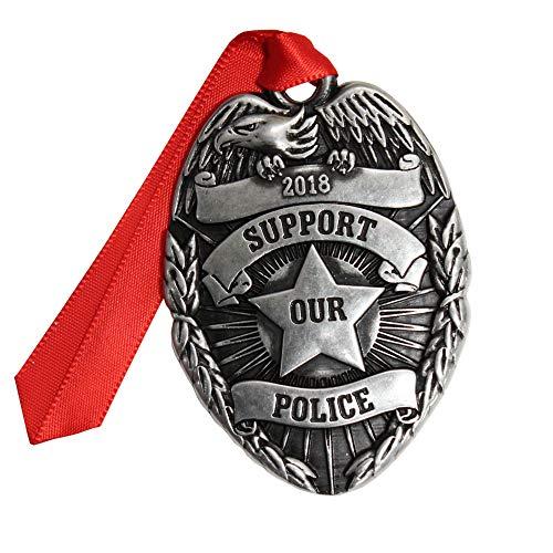 Gloria Duchin Pewter Police Badge Christmas Ornament, Silver