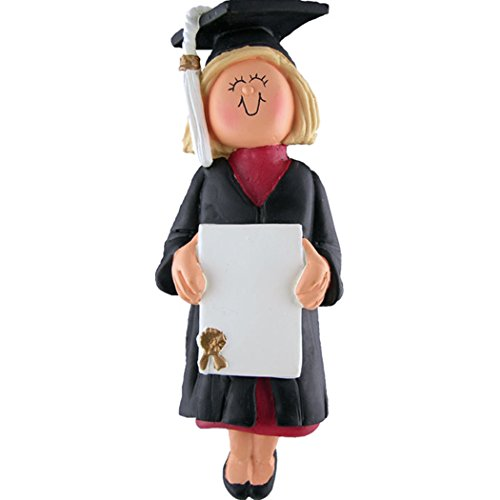 Personalized New Graduate Girl Christmas Tree Ornament 2019 – Blonde Woman in Dress with Diploma UnderGraduation PhD Masters Degree High End – Free Customization (Yellow Hair Female)