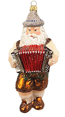 Pinnacle Peak Trading Company German Bavarian Musician Santa Playing Accordion Polish Glass Christmas Ornament