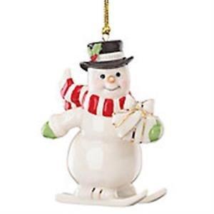 Lenox Merry Little Christmas Skiing Winter Snowman Ornament New
