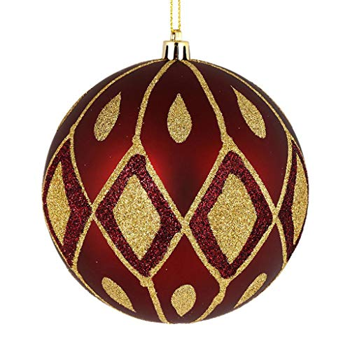 Vickerman 529034-4.75″ Wine Matte Glitter Diamond Ball Christmas Tree Ornament (4 pack) (N188119D)