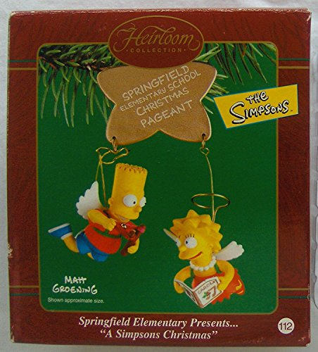 """Simpsons Bart and Lisa """"Springfield Elementary Presents"""" Holiday Ornament"""