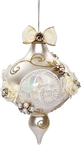 Mark Roberts Kings Jewels Ornaments Vintage Floral Jewel Pearl Finial Ornament 7.5 Inch, 1 Each