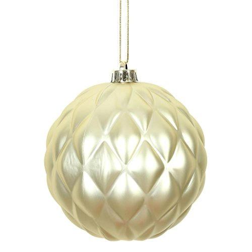 Vickerman 472828 – 4″ Champagne Matte Round Pine Cone Christmas Tree Ornament (6 pack) (N173238D)