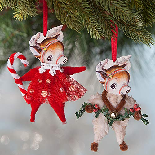 Bethany Lowe 4″ Retro Chenille Reindeer Christmas Ornament Set of 2 LO8200