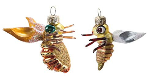 One Hundred 80 Degrees 2 Blown Glass Bugs Hanging Ornaments CG0101 2.5 Inches