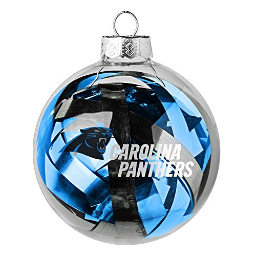 NFL Officially Licensed Carolina Panthers Tinsel Filled Ball Ornament