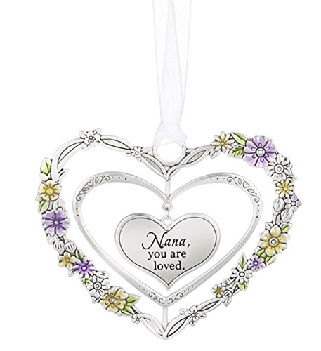 Ganz Silver Heart Ornaments with Flowers (Nana)