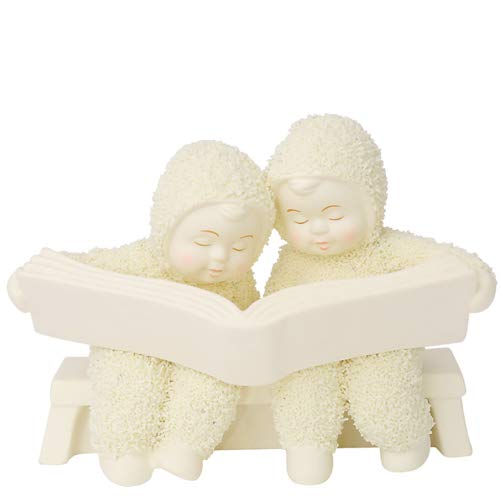 "Department 56 Snowbabies ""The Good Book"" Porcelain Figurine, 3.75″"
