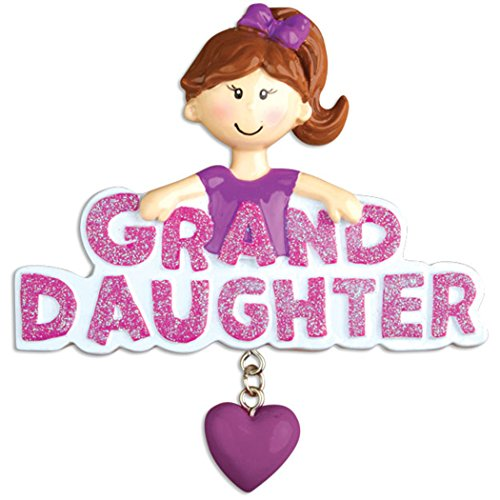 Personalized Granddaughter Christmas Tree Ornament 2019 – Brunette Girl Pink Word Heart Love Family Member Tradition Special Forever Brown Child Best Worlds Great Gift Year – Free Customization