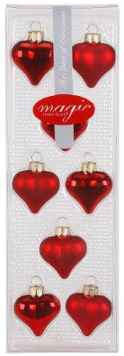 Inge-Glas 12002K012 Baubles Heart-Shaped 40 mm Set of 8 Shiny / Matte Red