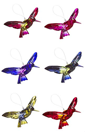 Ganz Hummingbirds Two Toned Multicolor 7 x 4 Acrylic Hanging Ornaments Set of 6