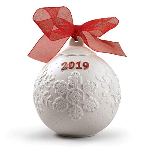 Lladro 2019 Red Porcelain Christmas Ball #8445