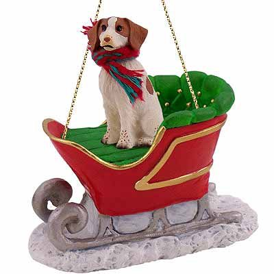 Conversation Concepts Brittany Sleigh Dog Christmas Ornament