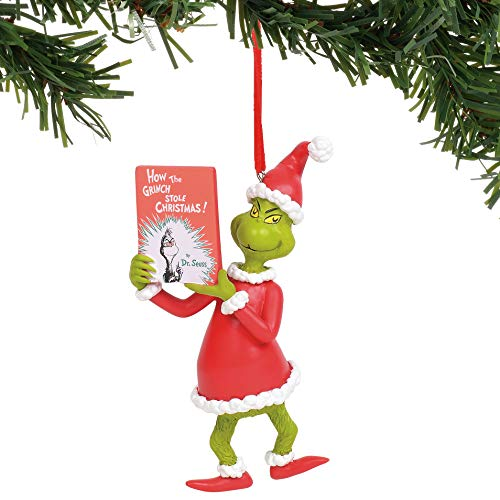Department 56 The The Grinch with Book Hanging Ornament, 3.25″, Multicolor