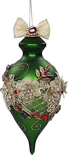 Mark Roberts Kings Jewels Ornaments Vintage Floral Jewel Green Finial Ornament 8 Inch, 1 Each