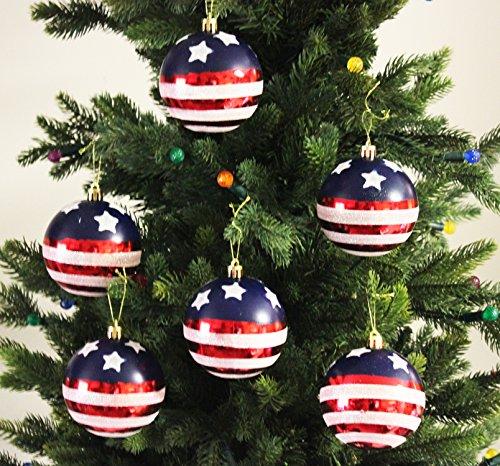 Sleetly 12pk Stars & Stripes Christmas Tree Ball Ornaments, 3.15 inches