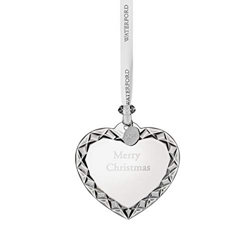 "Waterford Crystal Heart Ornament ""Merry Christmas"" 3″"