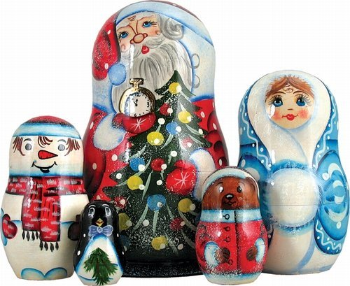 G. Debrekht 110060 Russia Nested Dolls Santa with Tree 5 Nest Doll 6. 5 inch