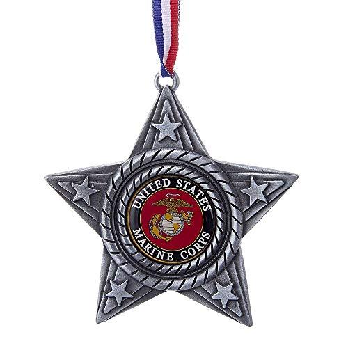 Kurt Adler 4-Inch Metal Star U.S. Marines Ornament