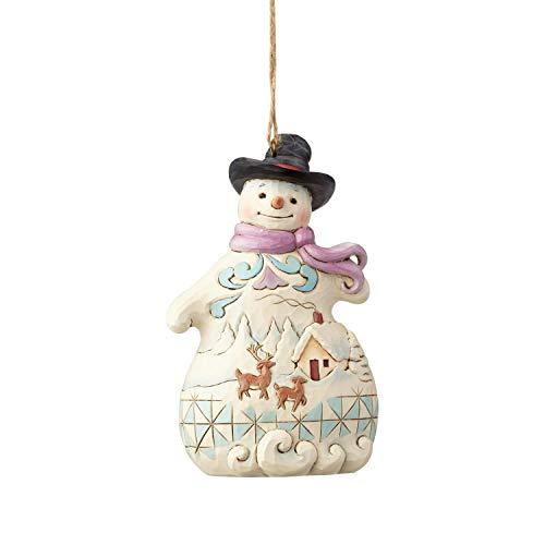 Enesco Jim Shore 6001514 Snowman with Snow Scene Ornament, Multicolor